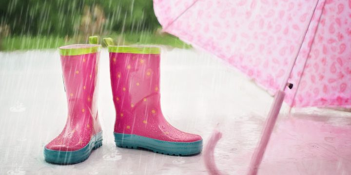 pink wellies and umbrella in rain